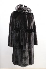 пальто, модель 17-7, норка крашеная, цвет: черный