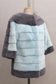 жакет, модель 60, рукав три четверти, норка крашеная, цвет серый+голубой