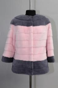 жакет, модель 60, рукав три четверти, норка крашеная, цвет серый+розовый /1/