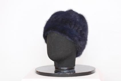 шапка, модель М 141, норка крашеная, цвет синий