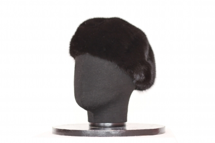 берет, модель М 165, норка крашеная, цвет черный
