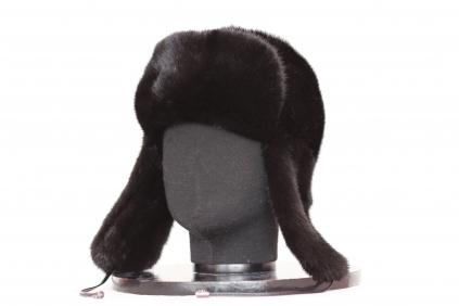 ушанка, модель М 178, норка крашеная, цвет чёрный