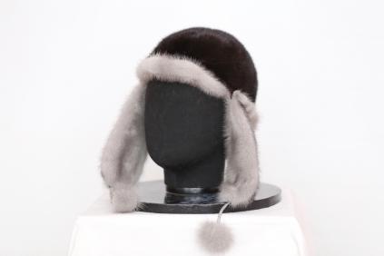 ушанка, модель М 182, норка не крашеная, цвет Черная /блек/ + норка голубая не крашеная Сапфировая